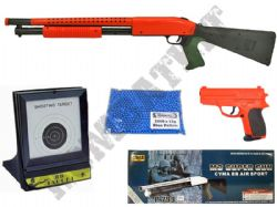 P799 BB Shotgun + P618 Pistol BB Gun Bundle + 2000 Pellets & Target Set 2 Tone Orange Black